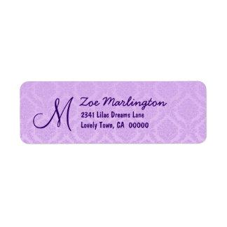 Orchid Purple Damask Wedding R774 Custom Return Address Label