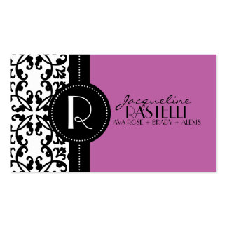 Orchid Purple Estate Damask Mommy Calling Card / Double-Sided Standard Business Cards (Pack Of 100)