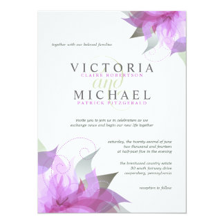 Orchid Purple Floral Wedding Invitations