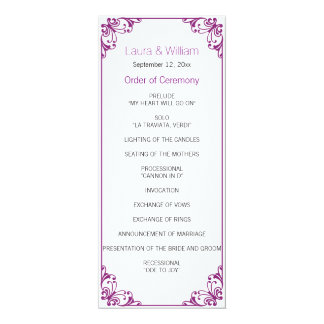 Orchid Purple Flourish Wedding Program