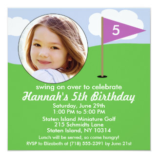 Orchid Purple Hole in One Photo Mini Golf Party Custom Invitation