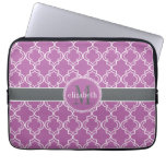 Orchid Purple Moroccan Trellis Monogram Laptop Computer Sleeves