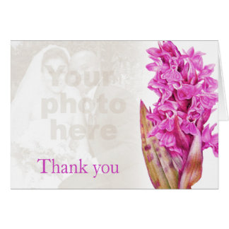 Orchid purple pink wedding photo thank you card