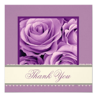 ORCHID PURPLE Roses Lace Ribbon Wedding Thank You Card
