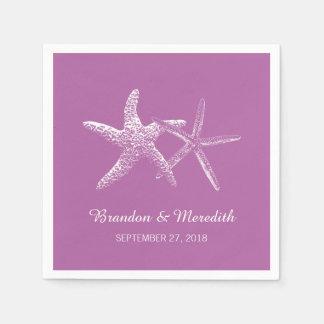 Orchid Purple Starfish Beach Wedding Napkins Standard Cocktail Napkin