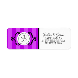 Orchid Purple Sweet Charming Striped Personalizedg Label