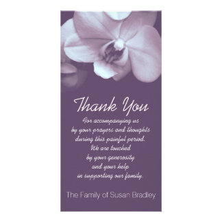 Orchid Purple Sympathy Thank you Photo Card