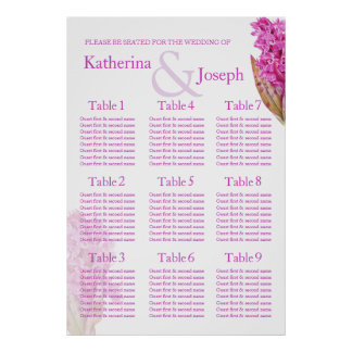 Orchid purple Wedding Seating Table Planner 1-9 Poster