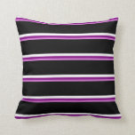 [ Thumbnail: Orchid, Purple, White & Black Pattern Throw Pillow ]