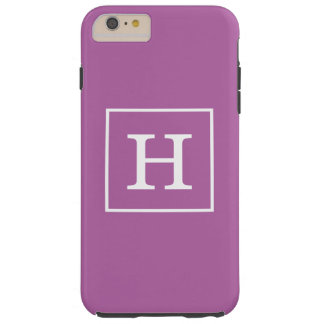 Orchid Purple White Framed Initial Monogram Tough iPhone 6 Plus Case