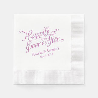 Orchid Purple White Happily Ever After Wedding Paper Napkin