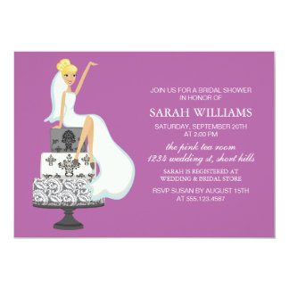 Orchid Radiant Bride on Wedding Cake Card