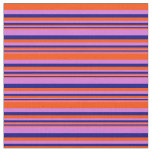[ Thumbnail: Orchid, Red, and Blue Colored Pattern of Stripes Fabric ]