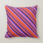 [ Thumbnail: Orchid, Red, and Blue Colored Pattern of Stripes Throw Pillow ]