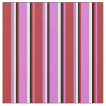 [ Thumbnail: Orchid, Red, Black, and White Colored Lines Fabric ]
