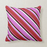 [ Thumbnail: Orchid, Red, Black, and White Colored Lines Pillow ]