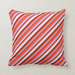 [ Thumbnail: Orchid, Red, Maroon & Mint Cream Colored Stripes Throw Pillow ]