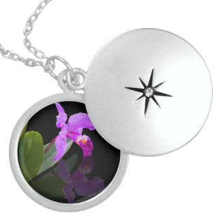 Orchid Reflected on Black Locket Necklace