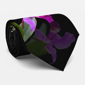 Orchid Reflected on Black Neck Tie