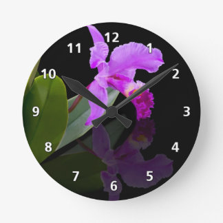 Orchid Reflections on Black Round Clock