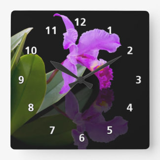 Orchid Reflections on Black Square Wall Clock