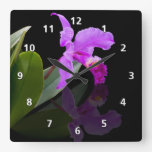 Orchid Reflections on Black Square Wallclock