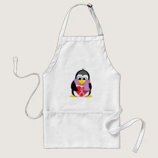Orchid Ribbon Penguin Scarf Adult Apron