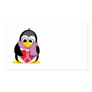 Orchid Ribbon Penguin Scarf Business Cards