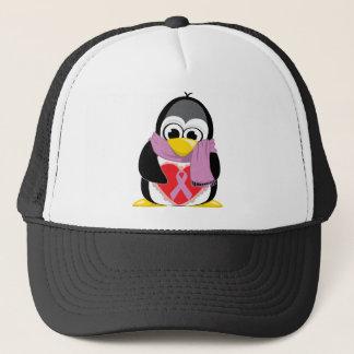 Orchid Ribbon Penguin Scarf Trucker Hat