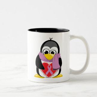 Orchid Ribbon Penguin Scarf Two-Tone Coffee Mug