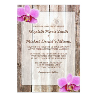 "Orchid Rustic Barn Wood Wedding Invitations 5"" X 7"" Invitation Card"