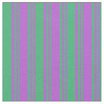 [ Thumbnail: Orchid & Sea Green Colored Lined Pattern Fabric ]