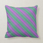 [ Thumbnail: Orchid & Sea Green Colored Lined Pattern Pillow ]