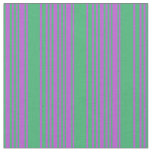 [ Thumbnail: Orchid & Sea Green Lines Pattern Fabric ]