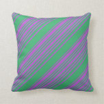 [ Thumbnail: Orchid & Sea Green Lines Pattern Throw Pillow ]