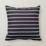 [ Thumbnail: Orchid, Sea Green, White, and Black Colored Lines Throw Pillow ]