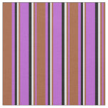 [ Thumbnail: Orchid, Sienna, Lavender & Black Colored Stripes Fabric ]