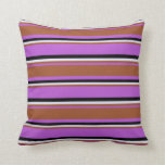 [ Thumbnail: Orchid, Sienna, Lavender & Black Colored Stripes Throw Pillow ]