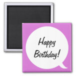 Orchid Speech Bubble 2 2 Inch Square Magnet