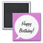 Orchid Speech Bubble 2 Inch Square Magnet