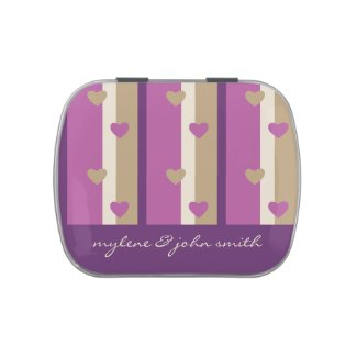 Orchid Tan Champagne Beige Purple Stripes Hearts Candy Tins