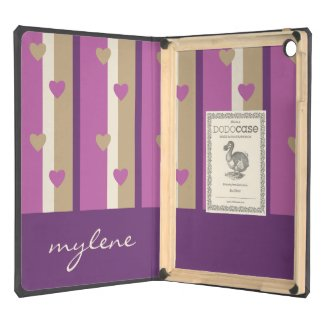 Orchid Tan Champagne Beige Purple Stripes Hearts iPad Air Covers
