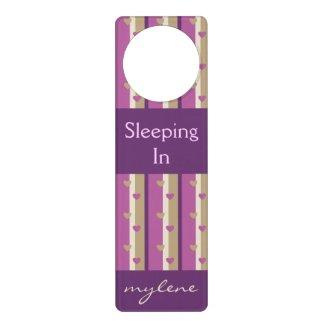 Orchid Tan Champagne Beige Purple Stripes Hearts Door Hangers