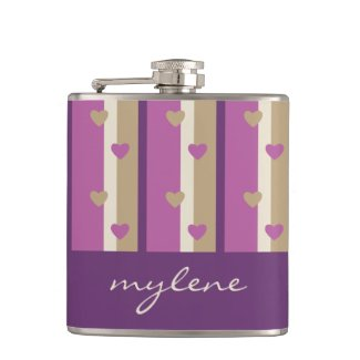 Orchid Tan Champagne Beige Purple Stripes Hearts Hip Flask
