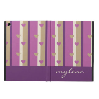 Orchid Tan Champagne Beige Purple Stripes Hearts Cover For iPad Air