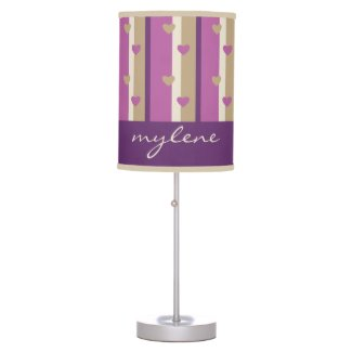 Orchid Tan Champagne Beige Purple Stripes Hearts Table Lamp