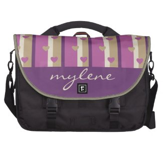 Orchid Tan Champagne Beige Purple Stripes Hearts Bag For Laptop