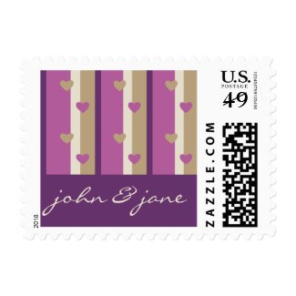 Orchid Tan Champagne Beige Purple Stripes Hearts Stamp