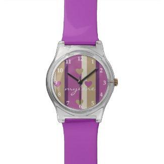 Orchid Tan Champagne Beige Purple Stripes Hearts Watch