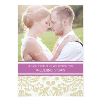 Orchid Tan Photo Wedding Vow Renewal Invitation